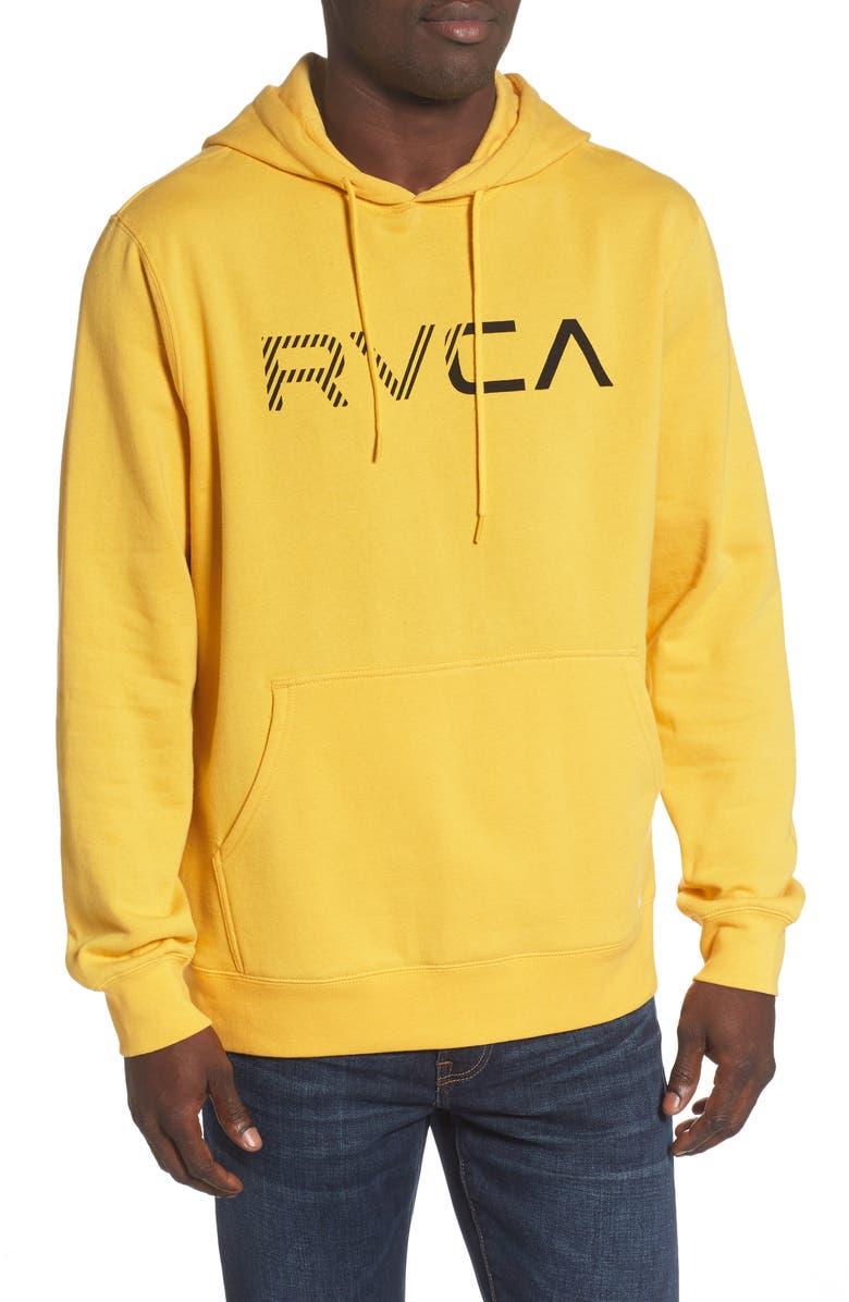 RVCA Scratched Logo Hooded Sweatshirt, Main, color, LEMON