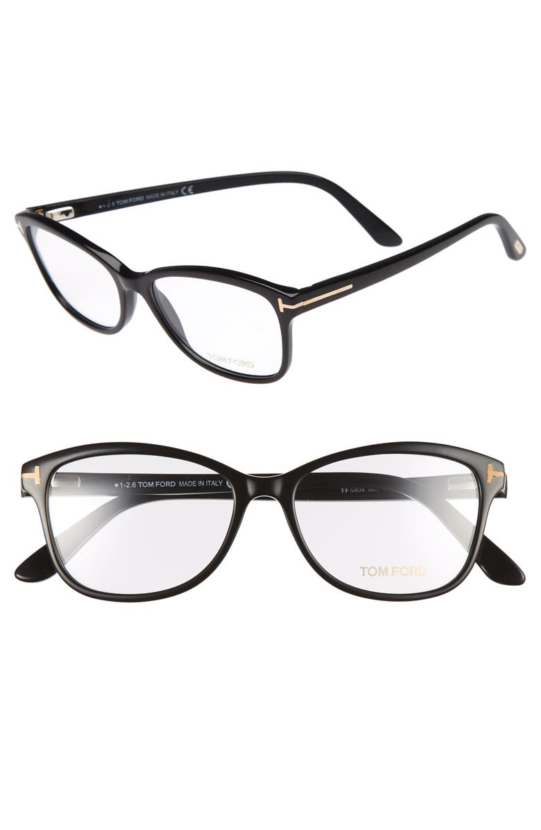 TOM FORD 53mm Optical Glasses, Main, color, SHINY BLACK