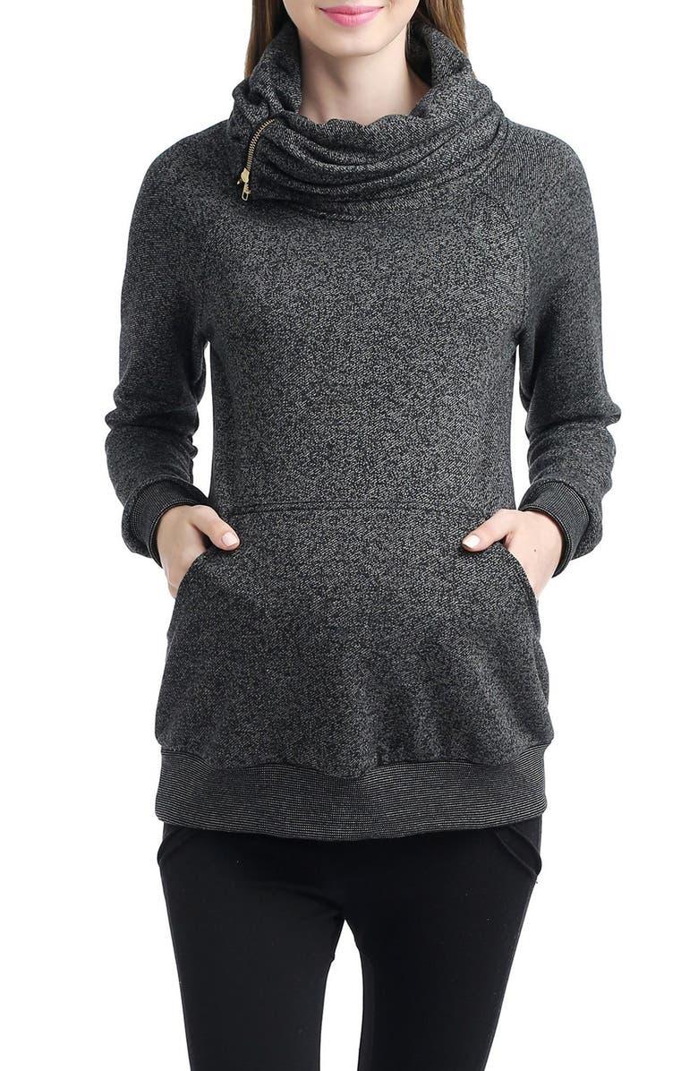 KIMI AND KAI 'Thea' Zip Collar Maternity Sweatshirt, Main, color, 001