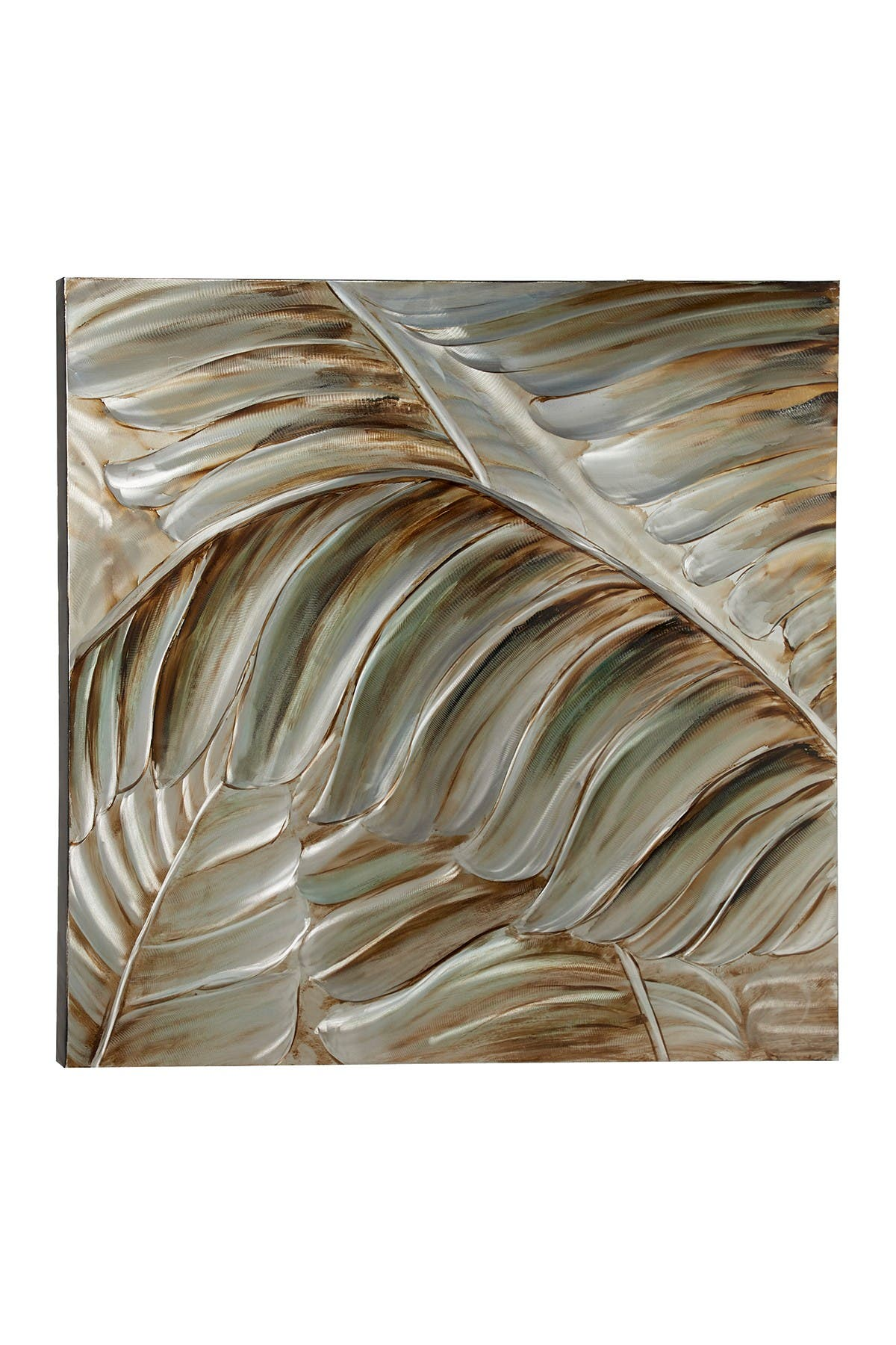 "Image of Willow Row Large Square Silver & Bronze 3D Leaves Metallic Wall Art - 39.5"" X 39.5"""
