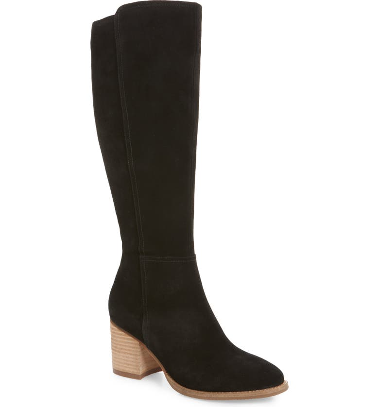 BLONDO Noreen Waterproof Knee High Boot, Main, color, BLACK SUEDE