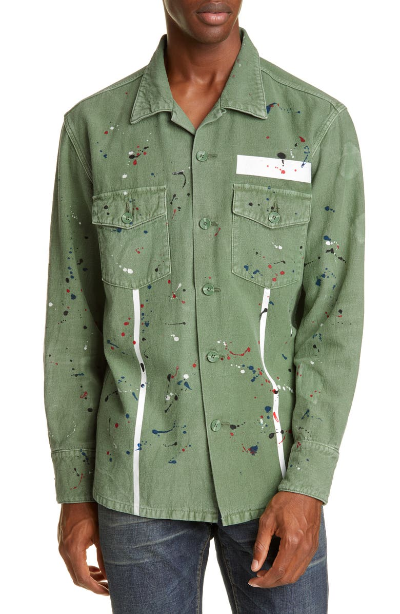 PURPLE The Carson Fatigue Shirt, Main, color, KHAKI FRAMIS TAPE