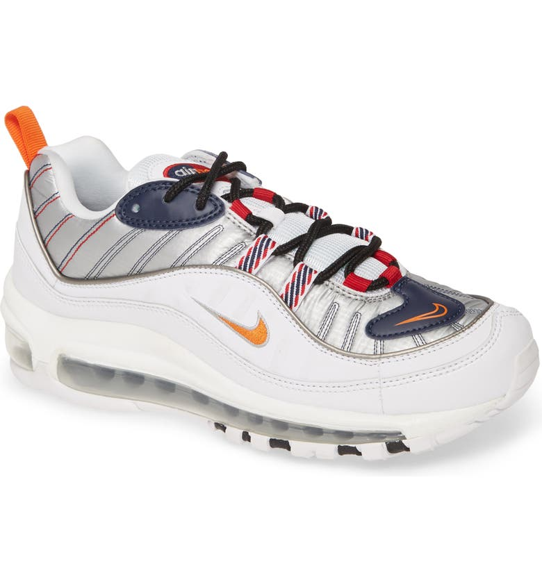 NIKE Air Max 98 Premium Sneaker, Main, color, WHITE/ WOLF GRAY/ GYM RED
