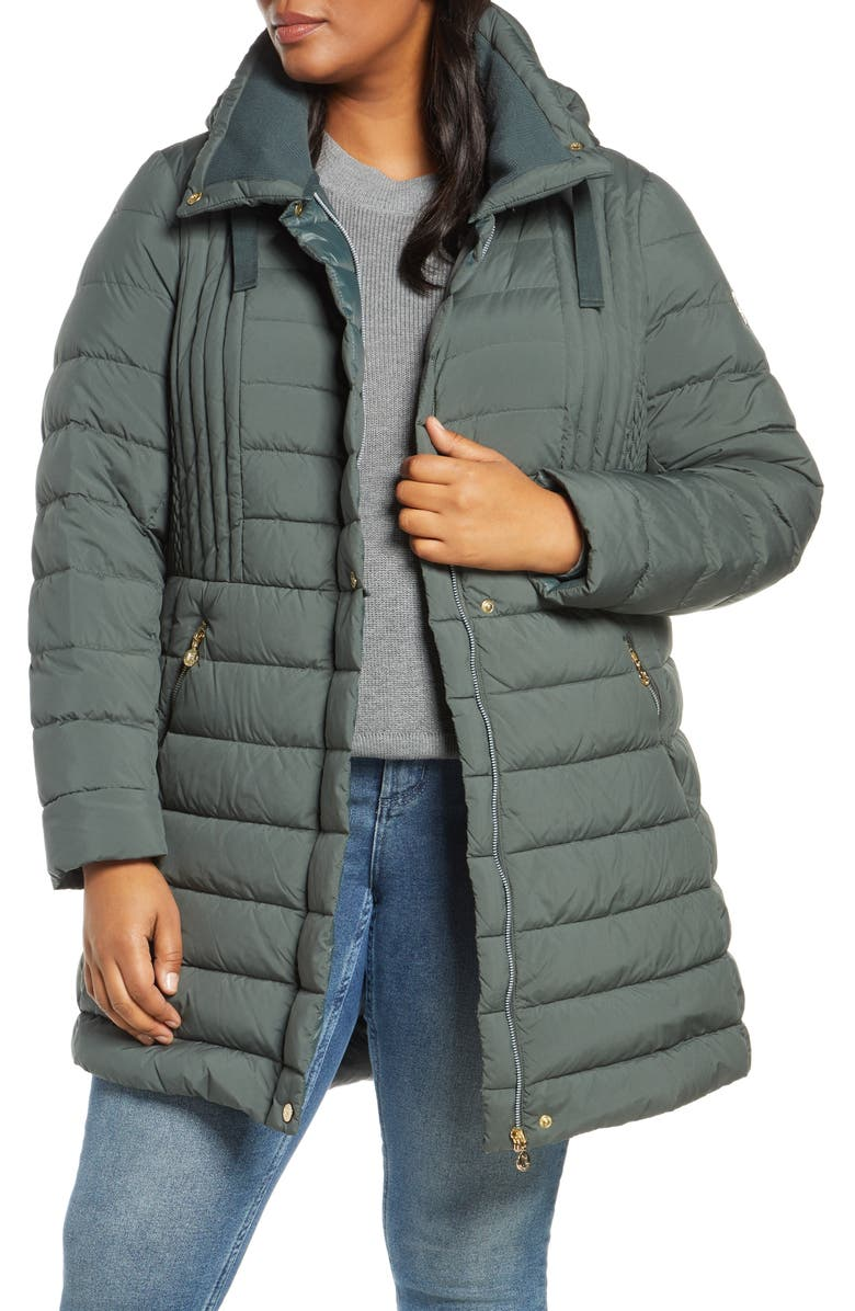 BERNARDO Hooded Packable Down & PrimaLoft<sup>®</sup> Coat, Main, color, DEEP MOSS