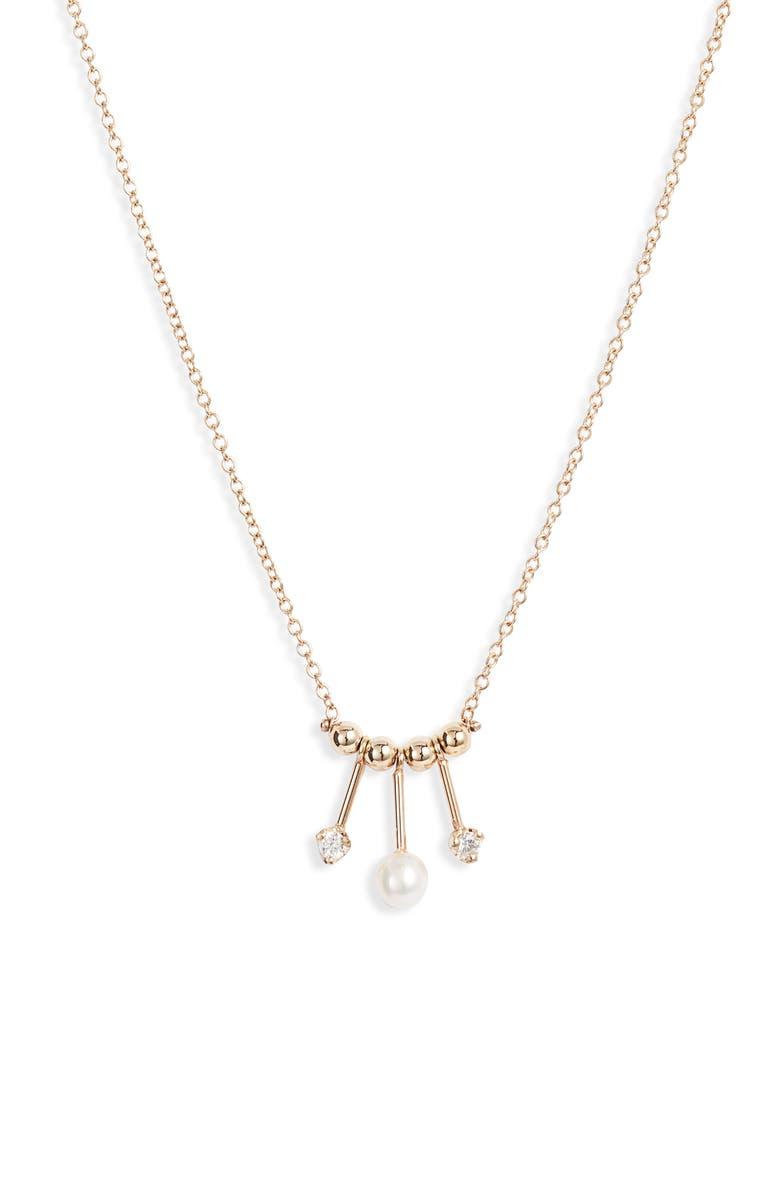 ZOË CHICCO Pearl & Diamond Mobile Necklace, Main, color, 710