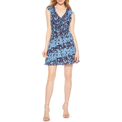 Parker Paola Asymmetrical Ruffle Silk Dress, Blue
