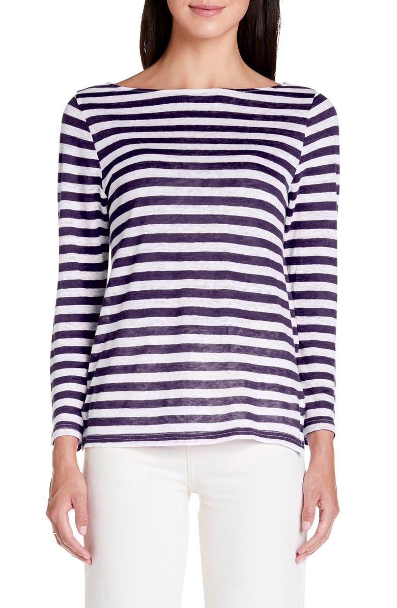 MICHAEL STARS Kelly Stripe Boatneck Linen Top, Main, color, ADMIRAL STRIPE