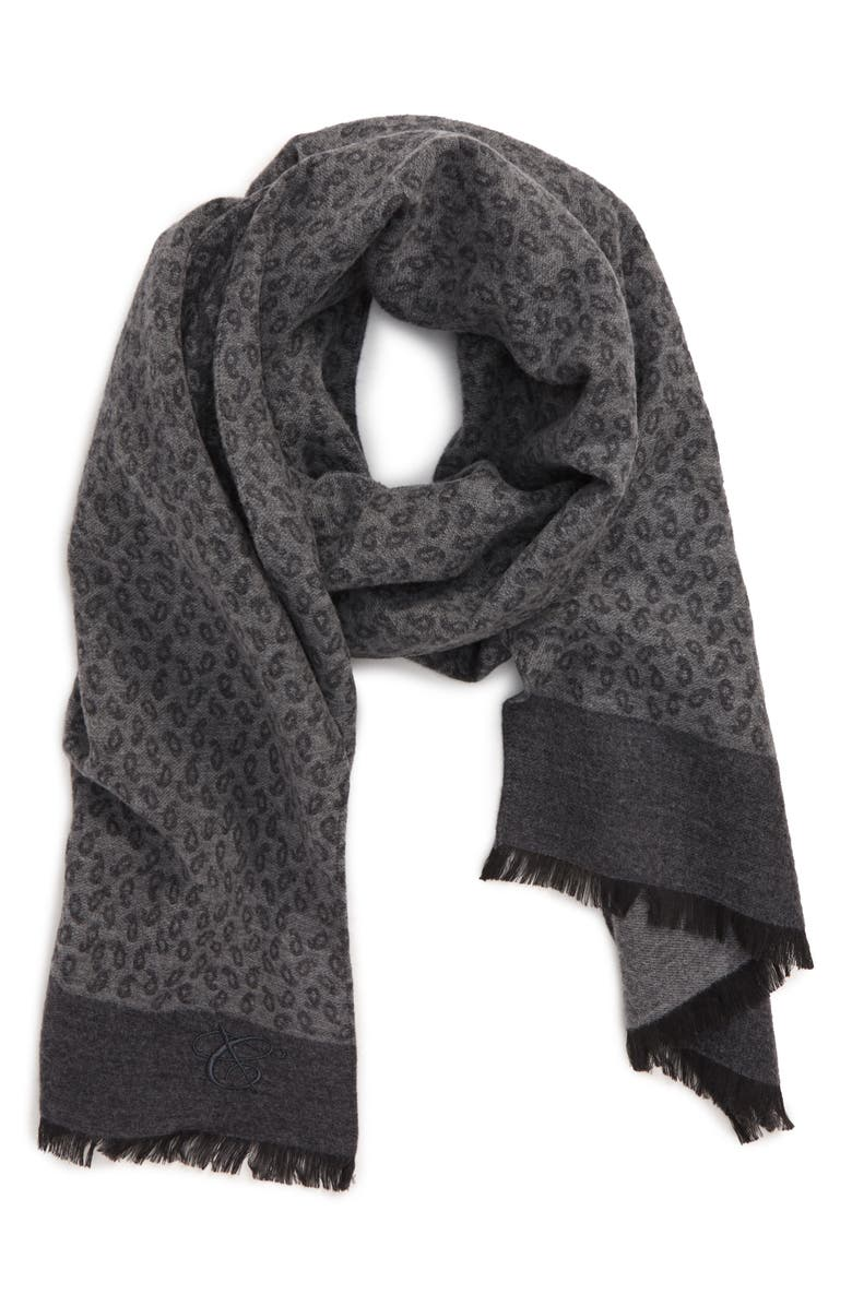 CANALI Paisley Wool & Silk Scarf, Main, color, GREY