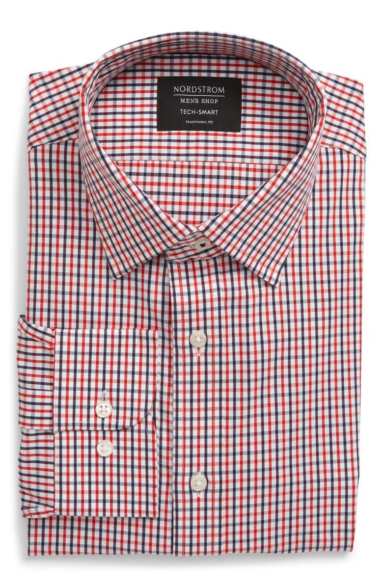 NORDSTROM MEN'S SHOP Tech-Smart Traditional Fit Check Dress Shirt, Main, color, RED BLAZE