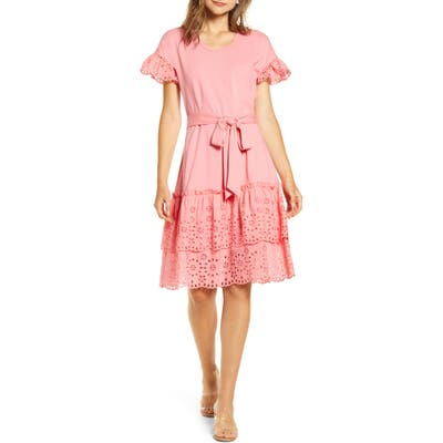 Rachel Parcell Eyelet A-Line Dress, Pink (Nordstrom Exclusive)