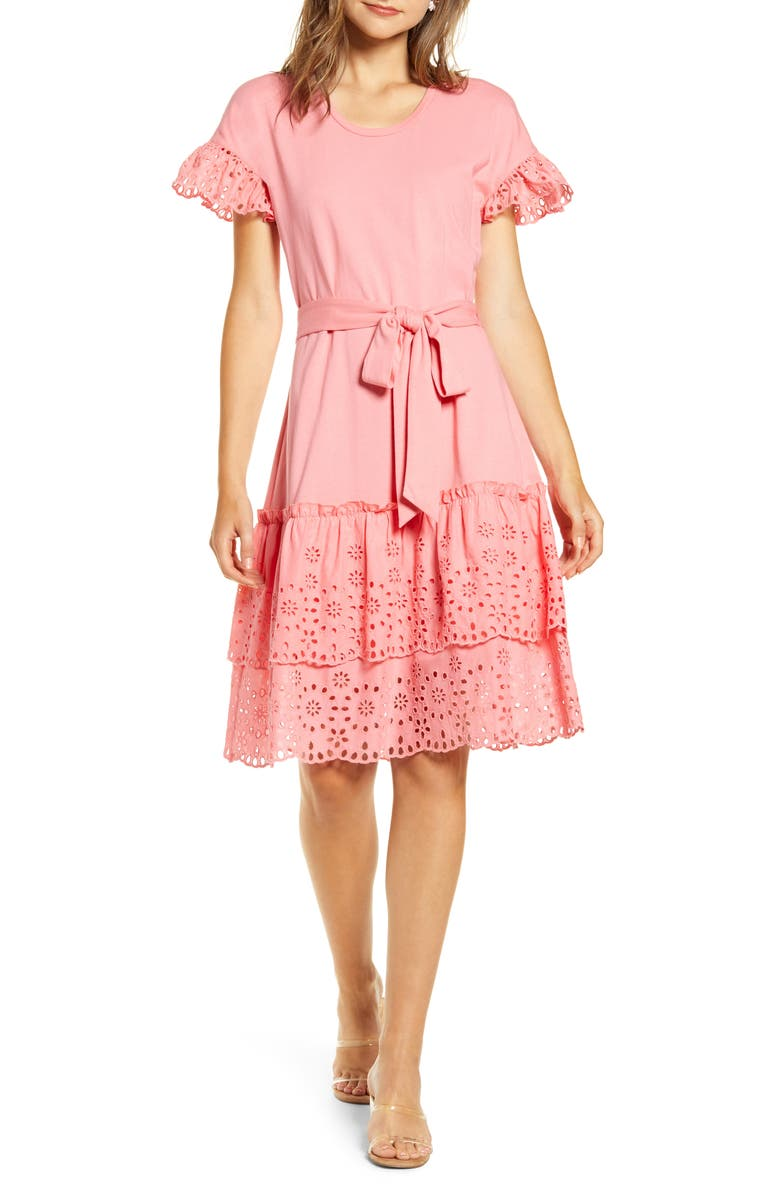 RACHEL PARCELL Eyelet A-Line Dress, Main, color, PINK STRAWBERRY