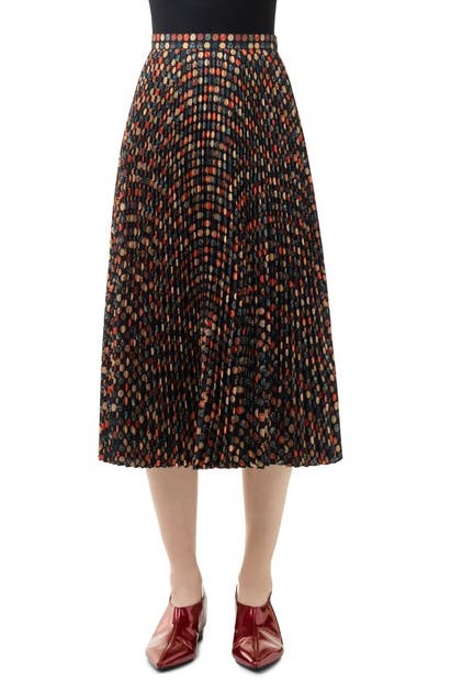 Akris Punto WOOD BLOCK DOT PLEATED MIDI SKIRT