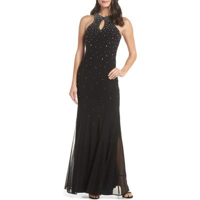 Morgan & Co. Embellished Keyhole Trumpet Gown, Black