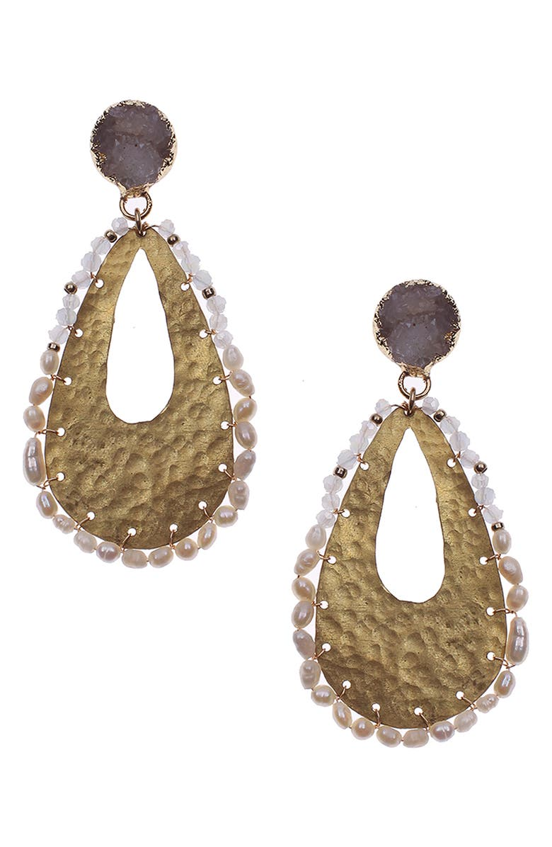 NAKAMOL CHICAGO Hammered Freshwater Pearl & Drusy Teardrop Earrings, Main, color, WHITE/ GOLD