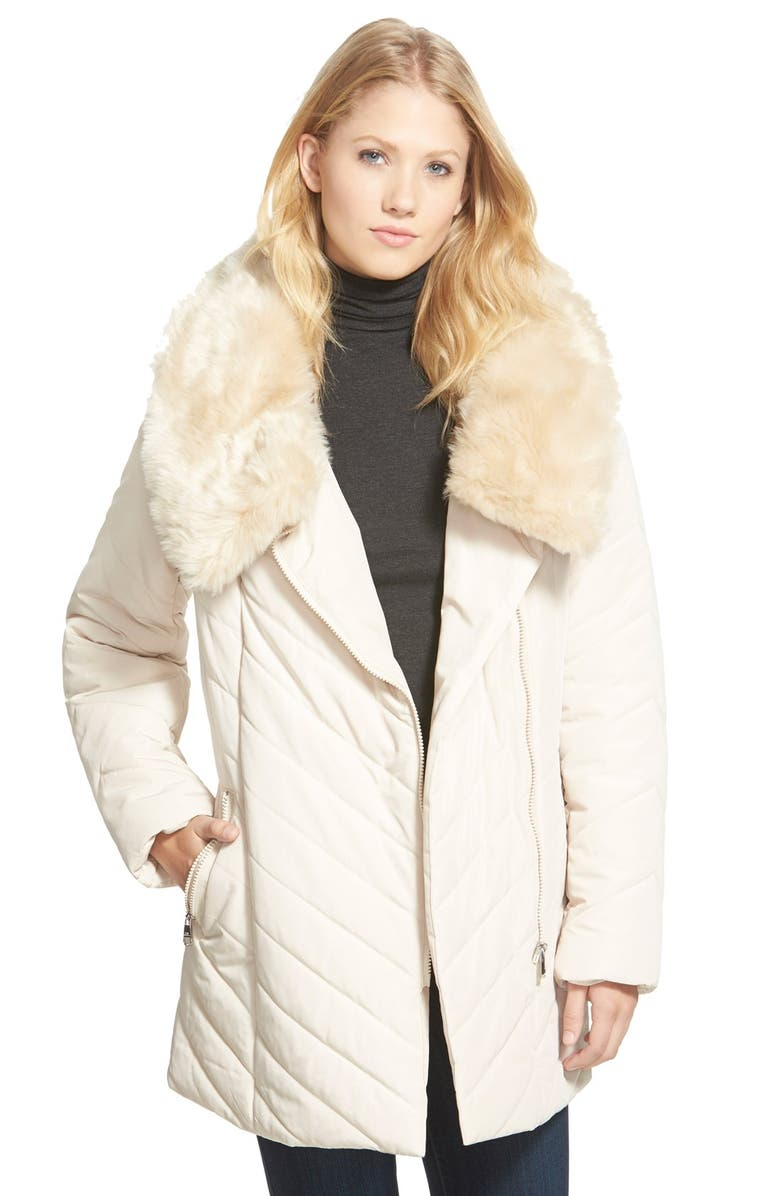 STEVE MADDEN Faux Fur Collar Asymmetrical Zip Quilted Coat, Main, color, 250