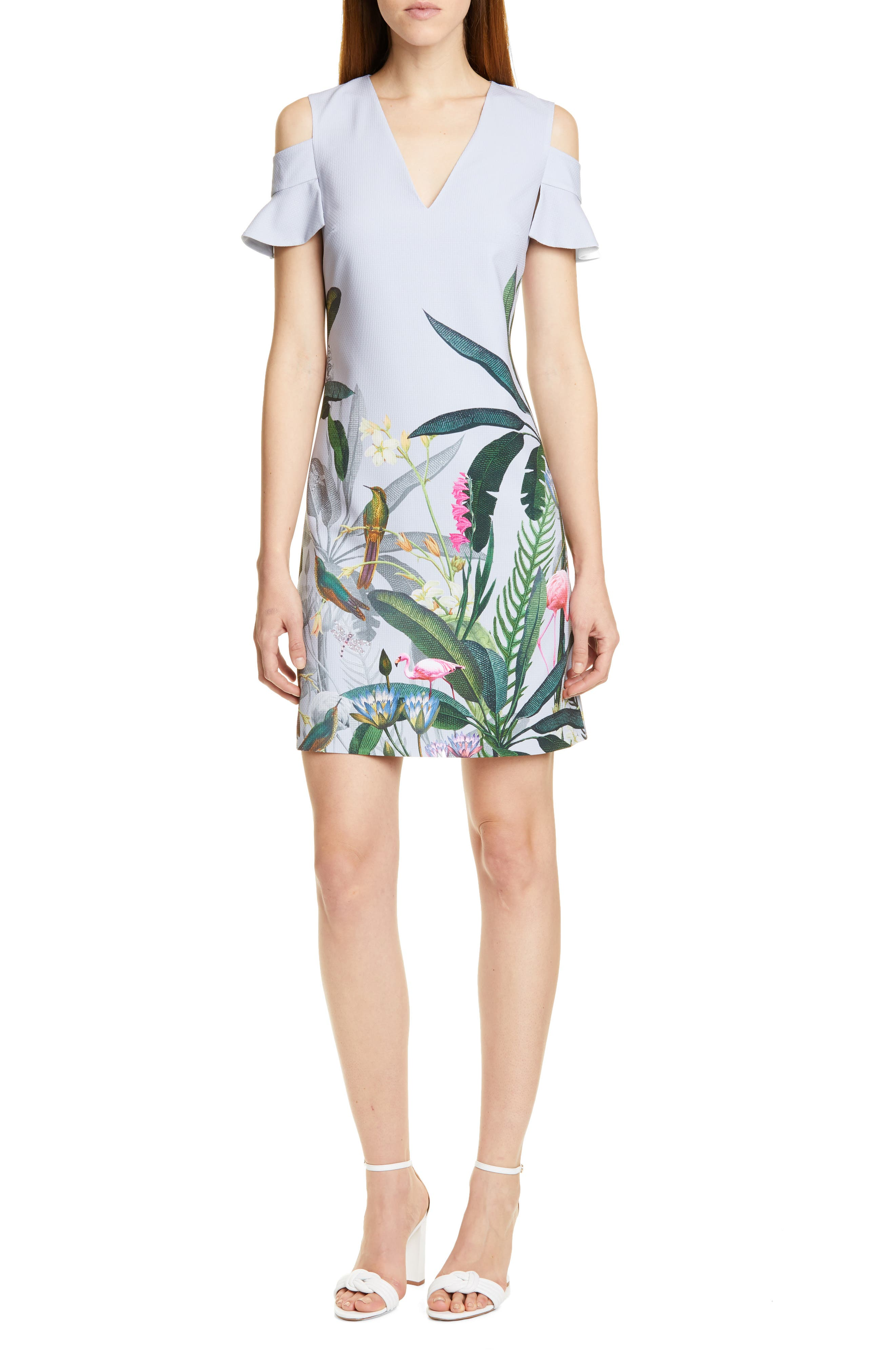 Ted Baker London Emerry Pistachio Cold Shoulder Dress, Grey