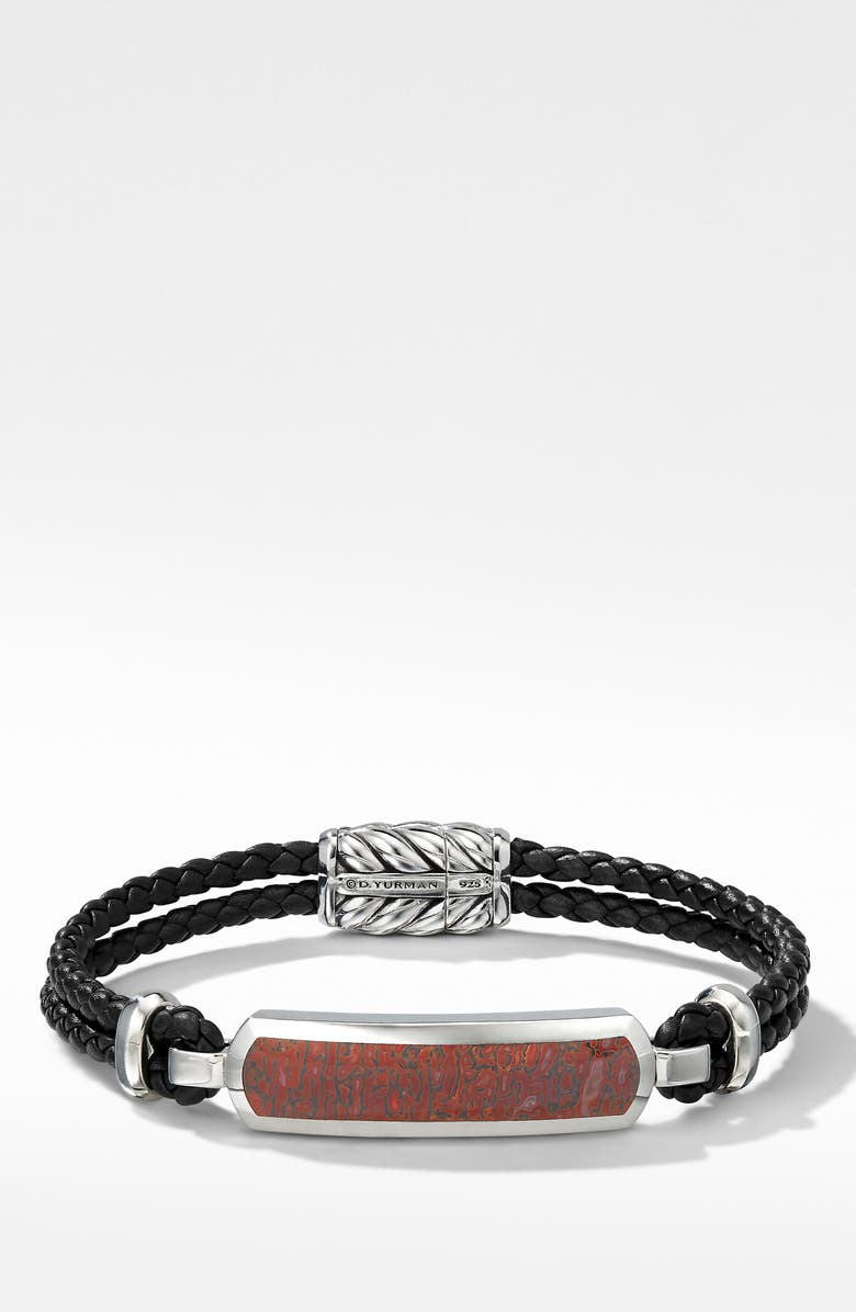 DAVID YURMAN Exotic Stone Bar Station Leather Bracelet with Red Agate, Main, color, RED AGATE