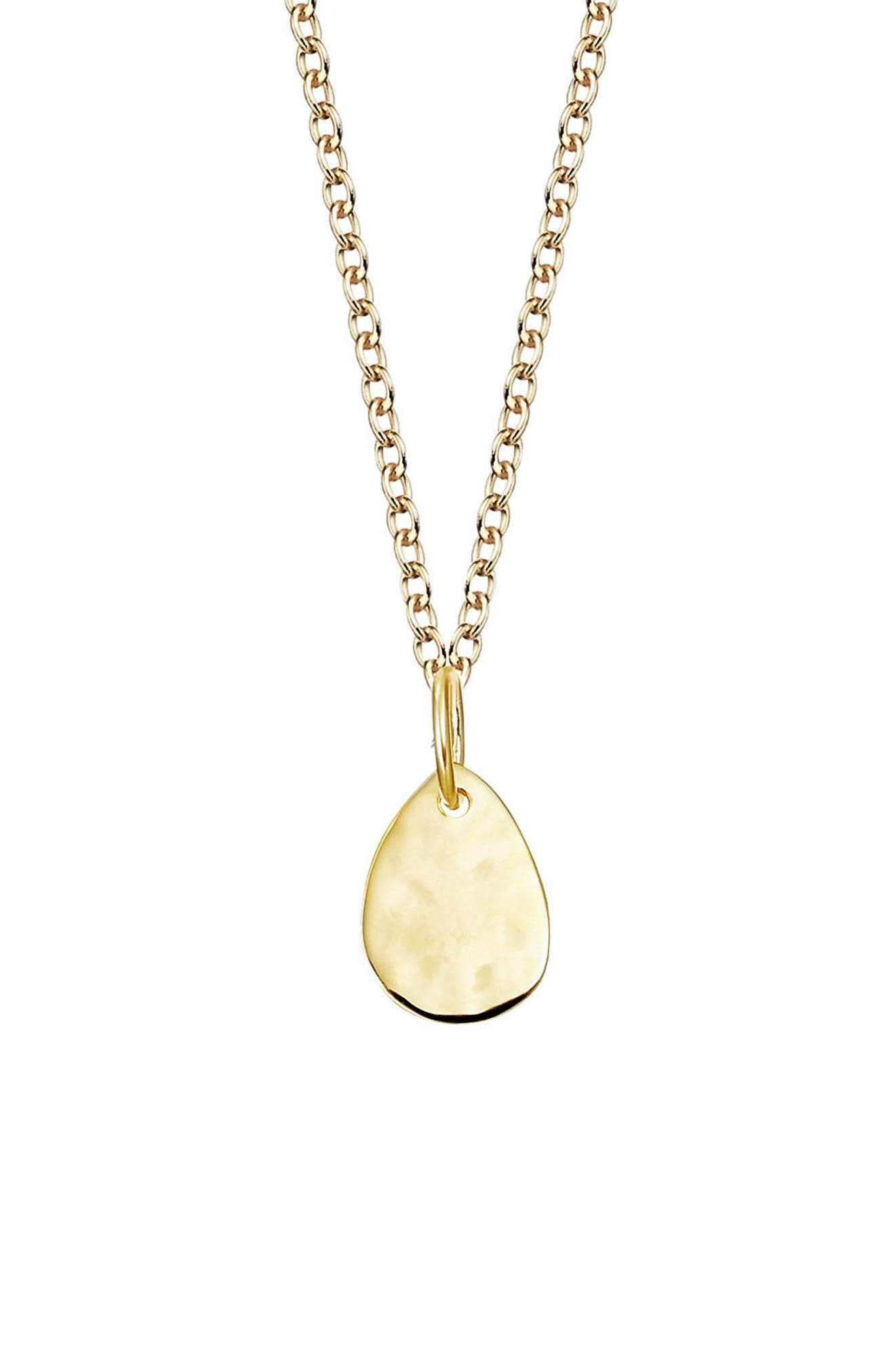 Engravable Mini Petal Teardrop Pendant Charm, Main, color, YELLOW GOLD