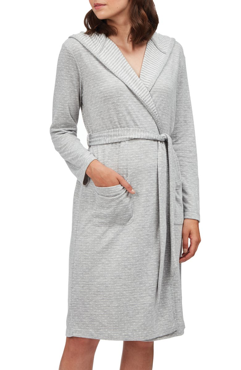 THE WHITE COMPANY Spot Hooded Robe, Main, color, PALE GREY MARL