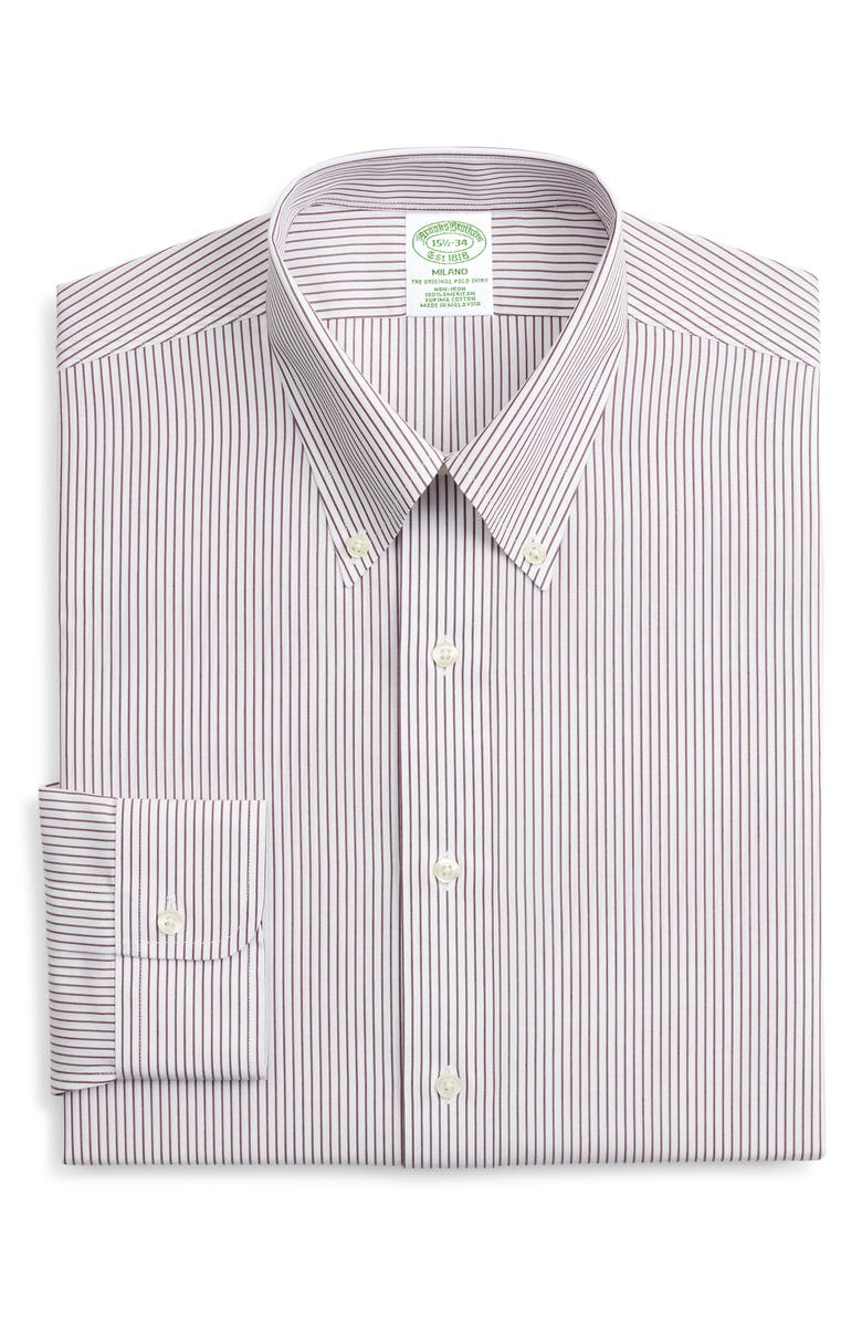 BROOKS BROTHERS Milano Trim Fit Non-Iron Stripe Dress Shirt, Main, color, STPFIG