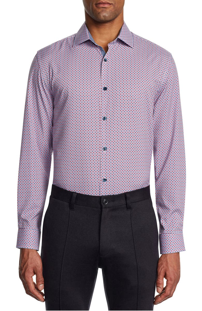 W.R.K Trim Fit Check Performance Dress Shirt, Main, color, BURGUNDY