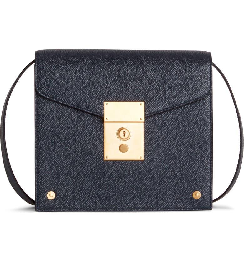 THOM BROWNE Mini Mrs. Thom Leather Crossbody Bag, Main, color, BLACK/ RED/ WHITE