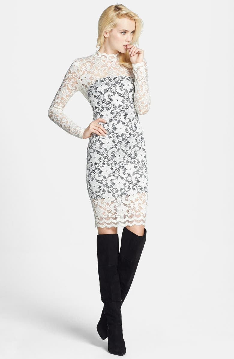 ASTR THE LABEL ASTR Lace Body-Con Dress, Main, color, 100