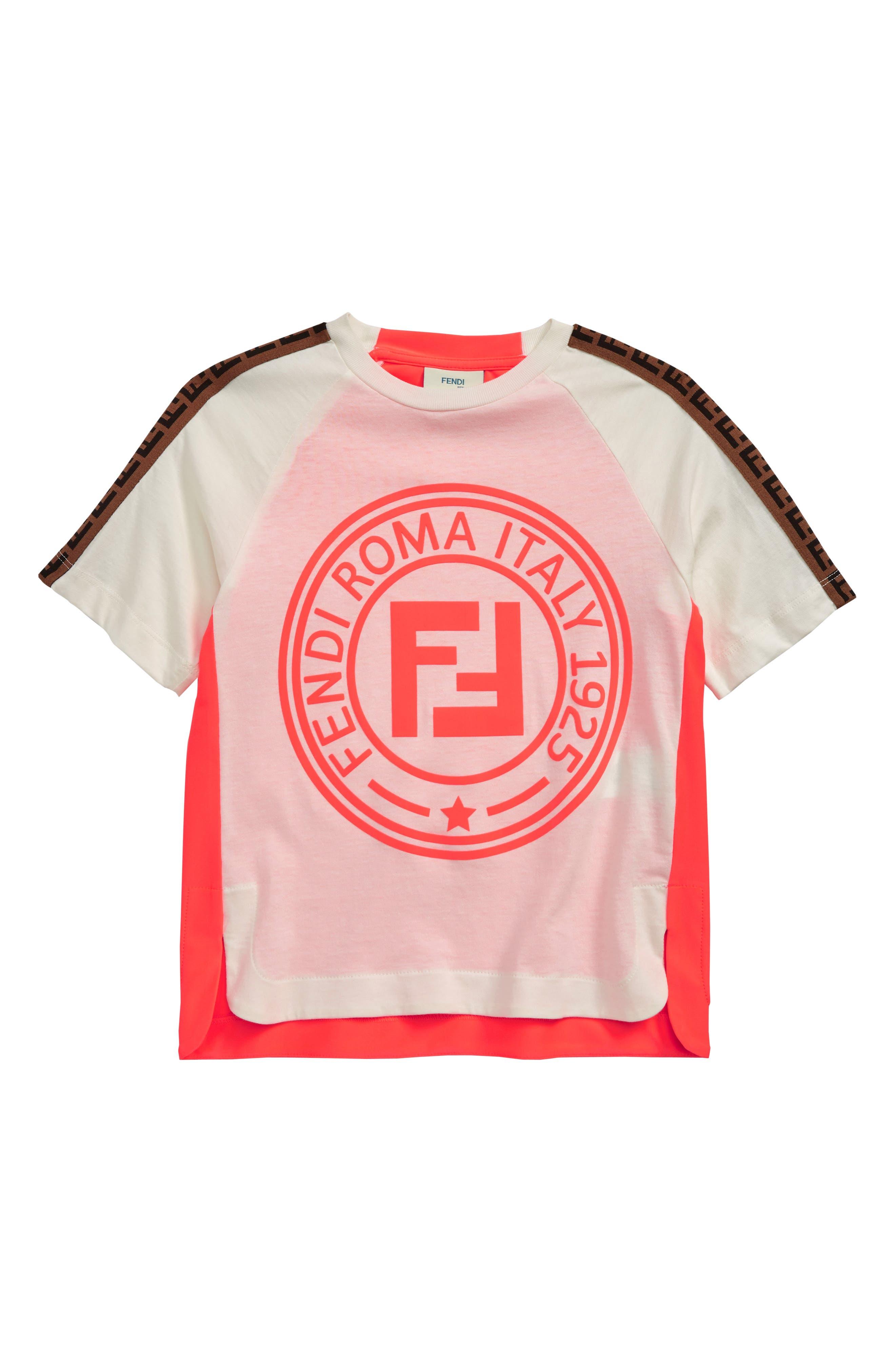 Girls Fendi Neon Logo Tee Size 6Y  White