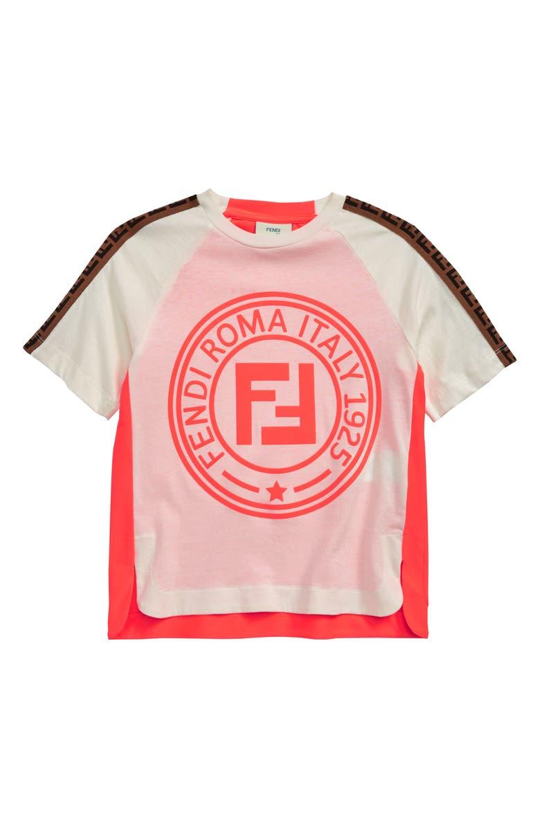 FENDI Neon Logo Tee, Main, color, WHT/ PNK