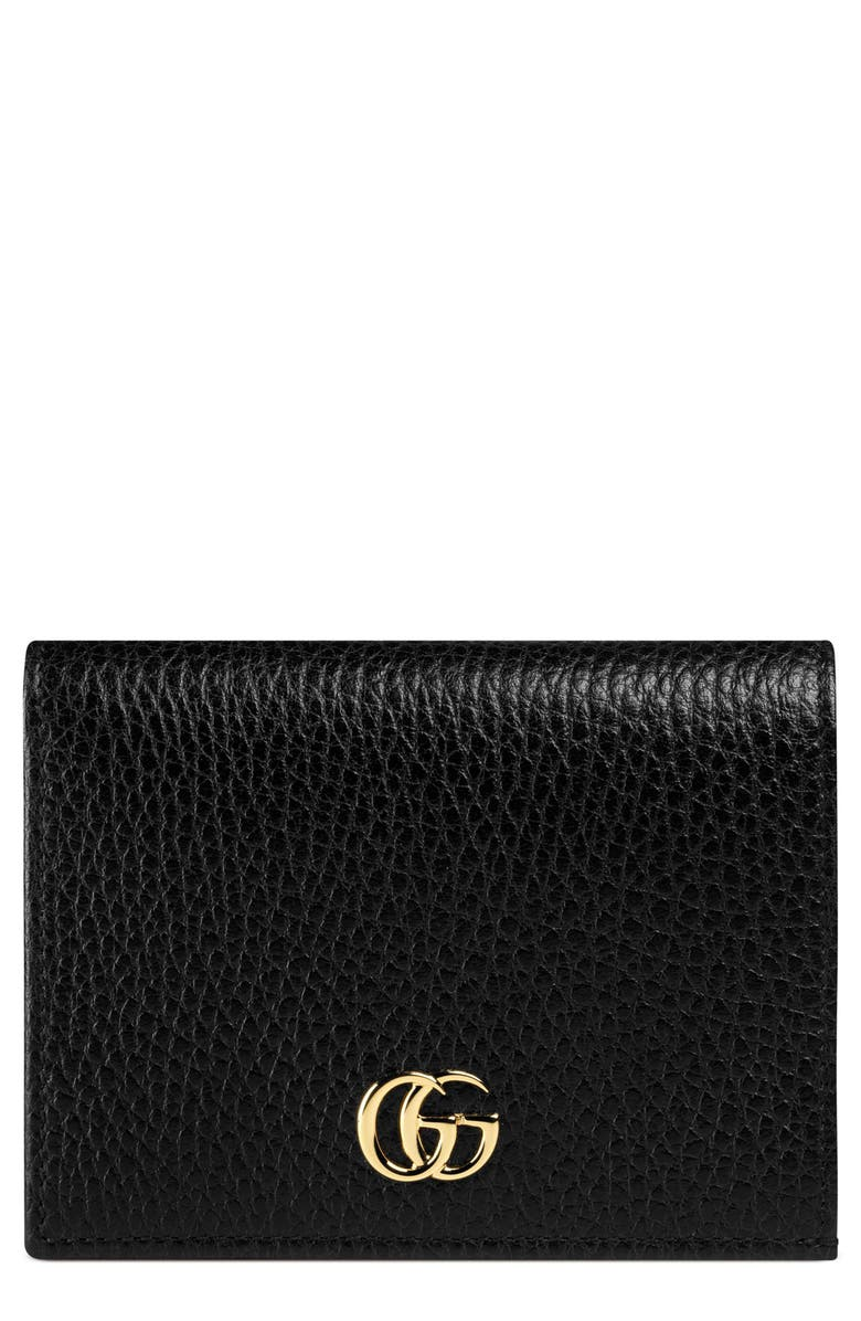 GUCCI Petite Marmont Leather Card Case, Main, color, NERO/ NERO