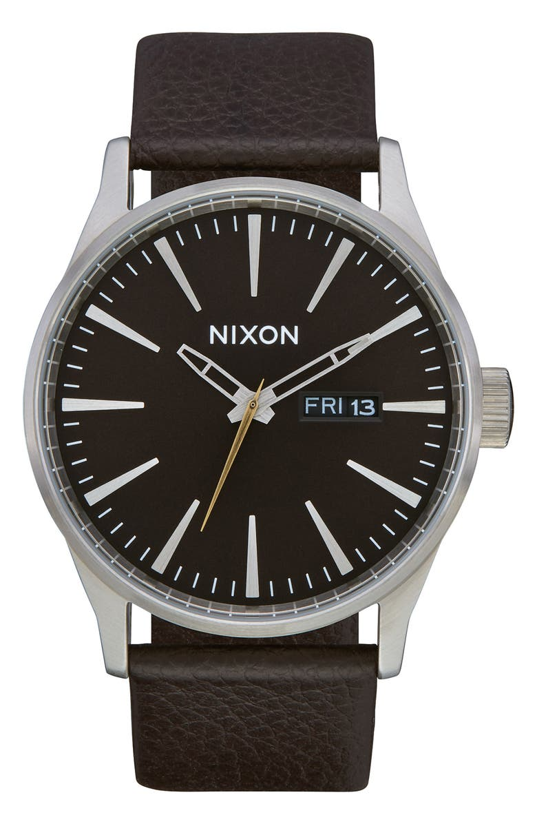 NIXON The Porter Leather Strap Watch, 40mm, Main, color, 200