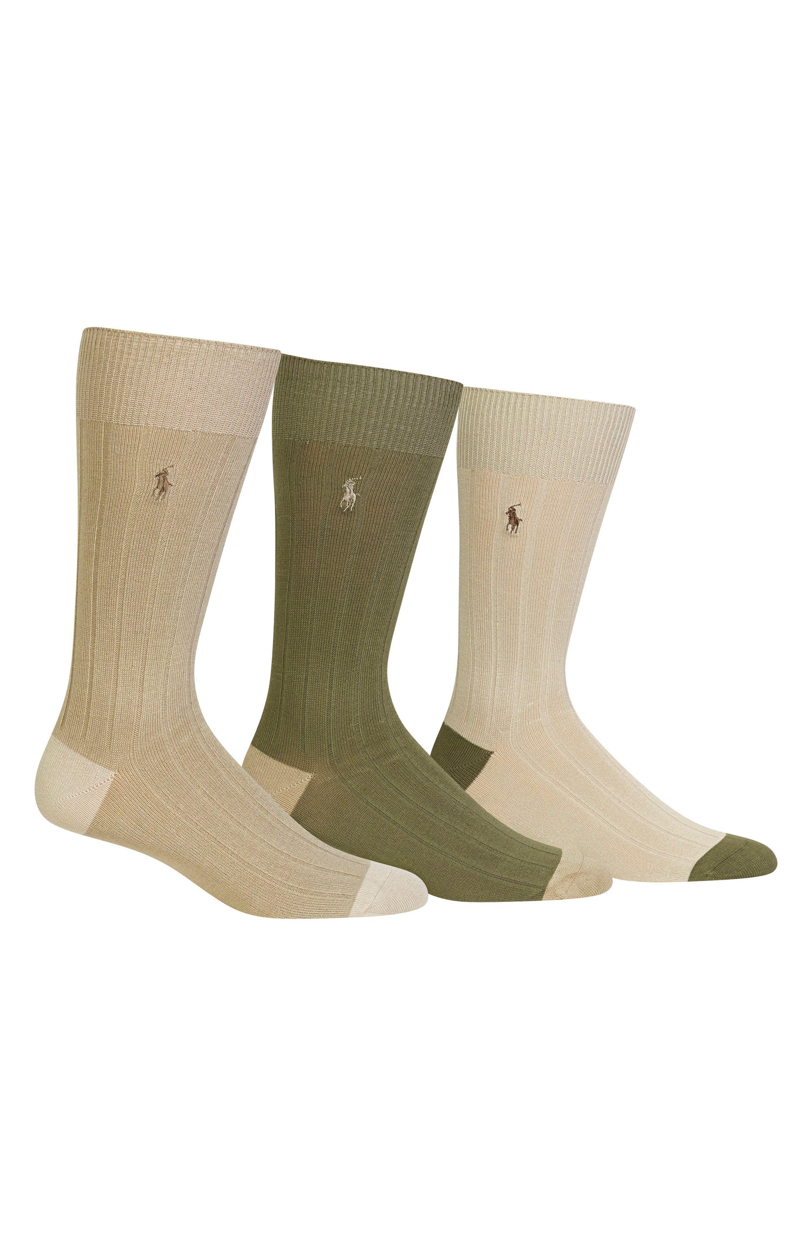 3-Pack Ribbed Socks, Main, color, KHAKI ASSORTED