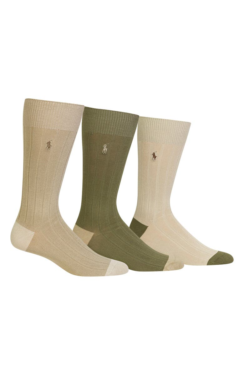 POLO RALPH LAUREN 3-Pack Ribbed Socks, Main, color, KHAKI ASSORTED