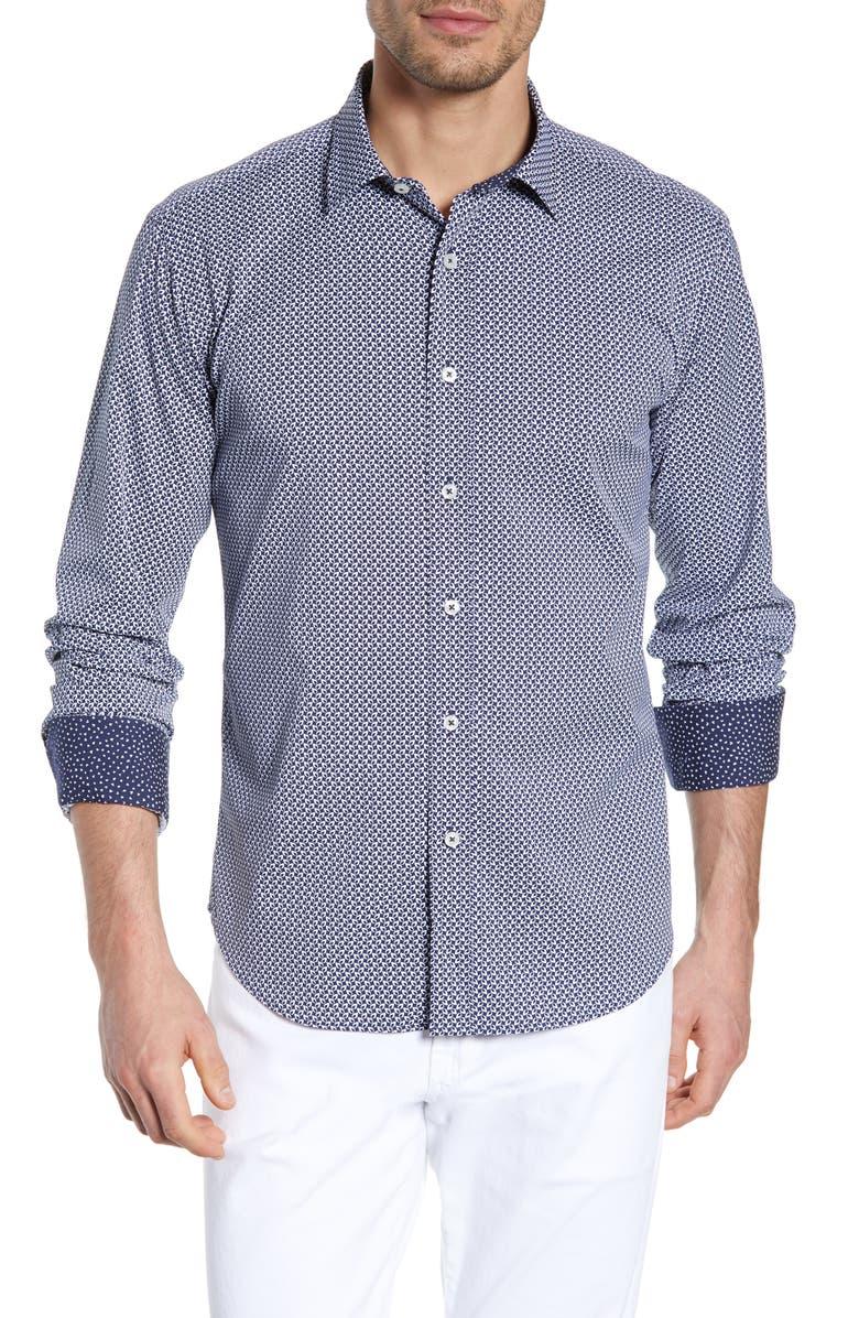 BUGATCHI Shaped Fit Print Performance Shirt, Main, color, 400