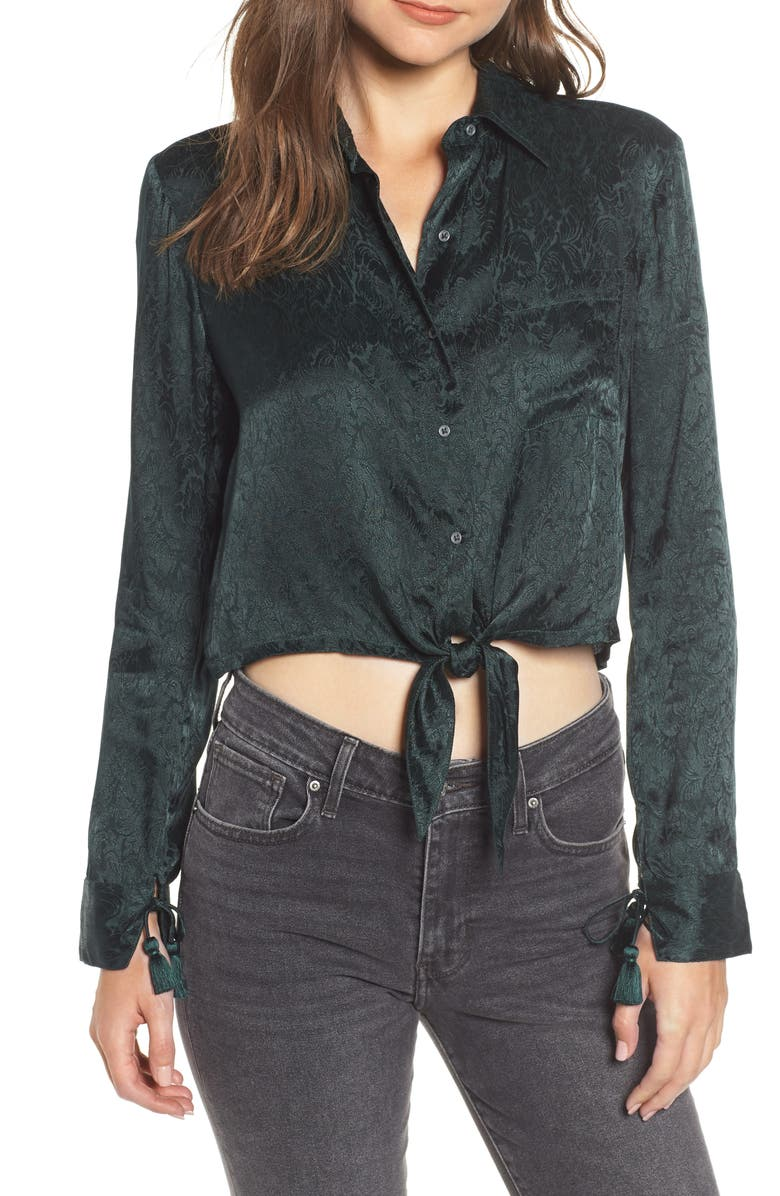 Hudson Jeans Embroidered Button Tie Blouse