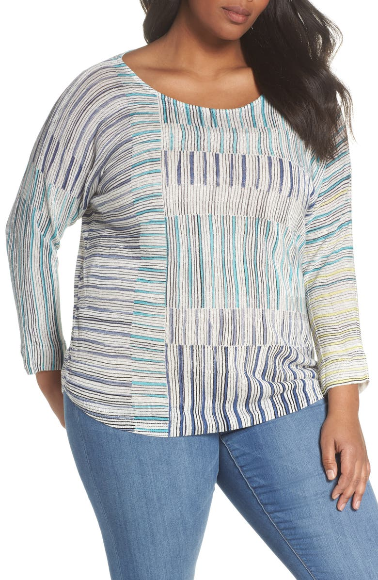 NIC+ZOE Sea Wall Stripe Scoop Neck Top, Main, color, 490
