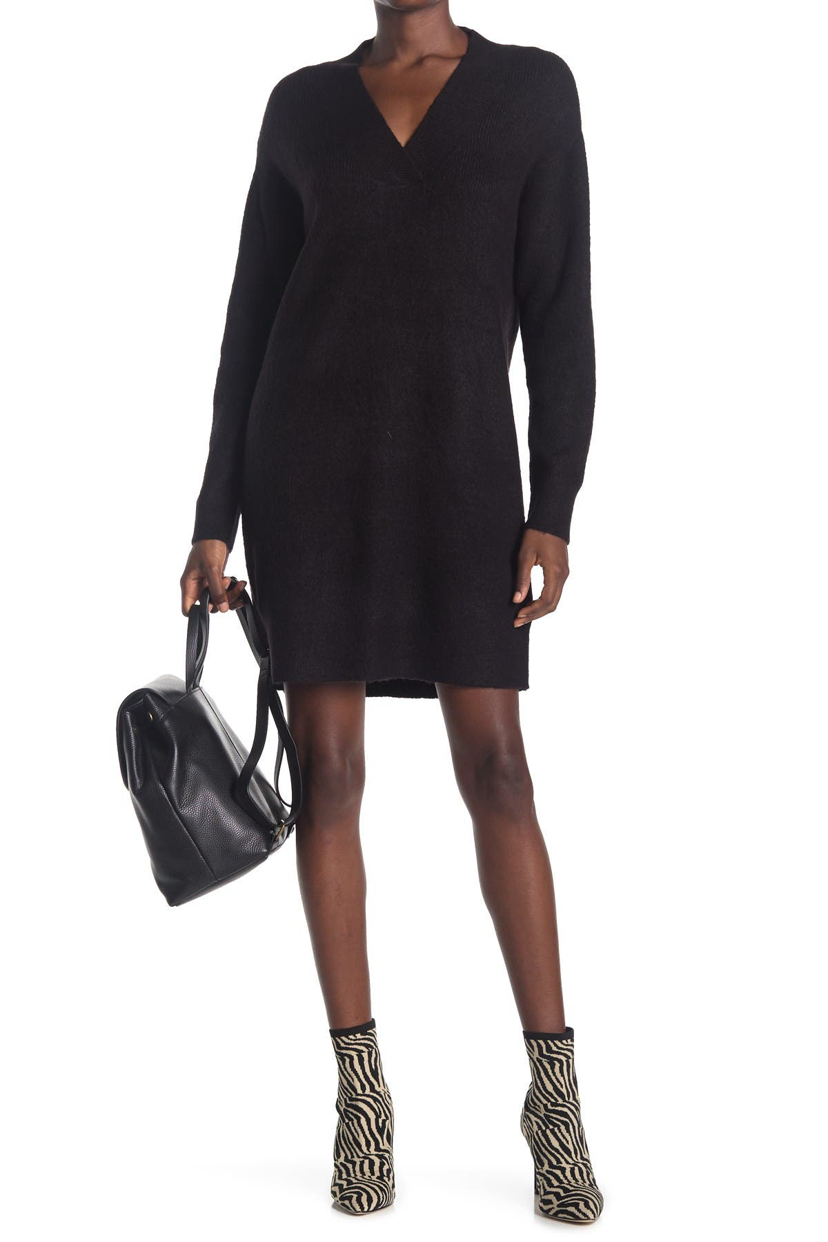 Image of Cloth By Design Mossy V-Neck Tunic Sweater Dress