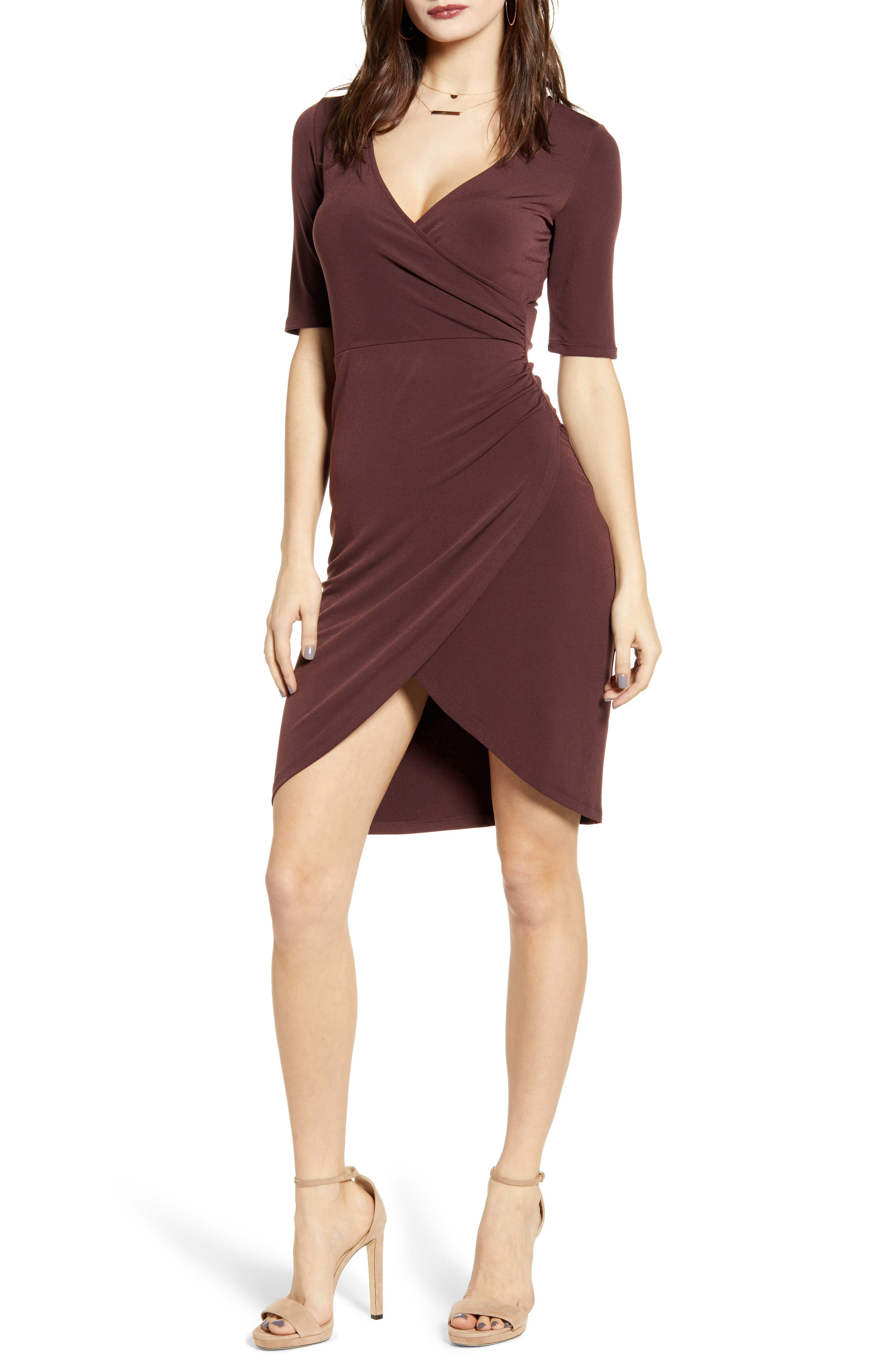 Leith Ruched Wrap Body-Con Dress