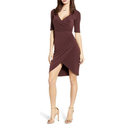 Leith Ruched Wrap Body-Con Dress, Burgundy