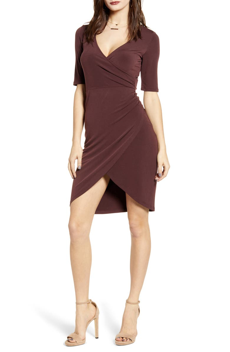 LEITH Ruched Wrap Body-Con Dress, Main, color, BURGUNDY FUDGE