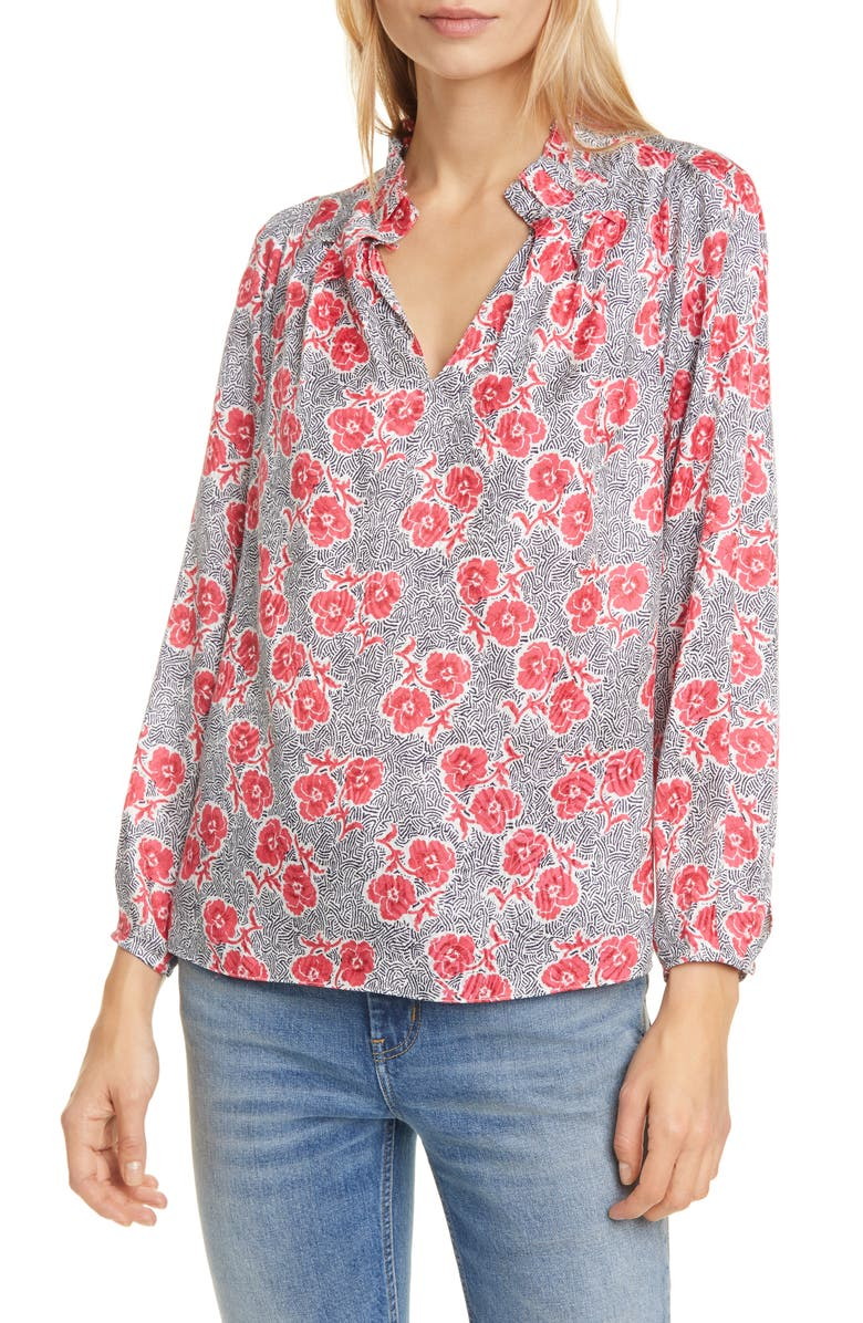 REBECCA TAYLOR Coral Fleur Long Sleeve Silk Blend Blouse, Main, color, SNOW COMBO
