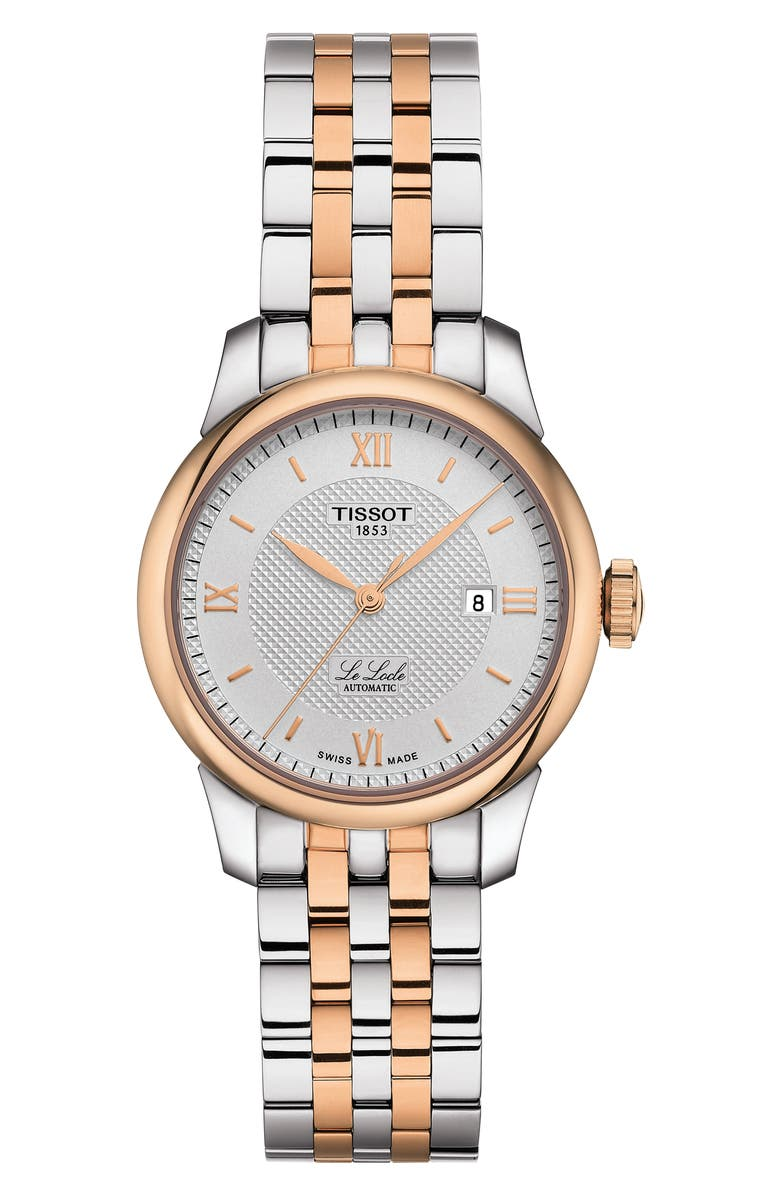TISSOT Le Locle Bracelet Watch, 29mm, Main, color, SILVER/ ROSE GOLD