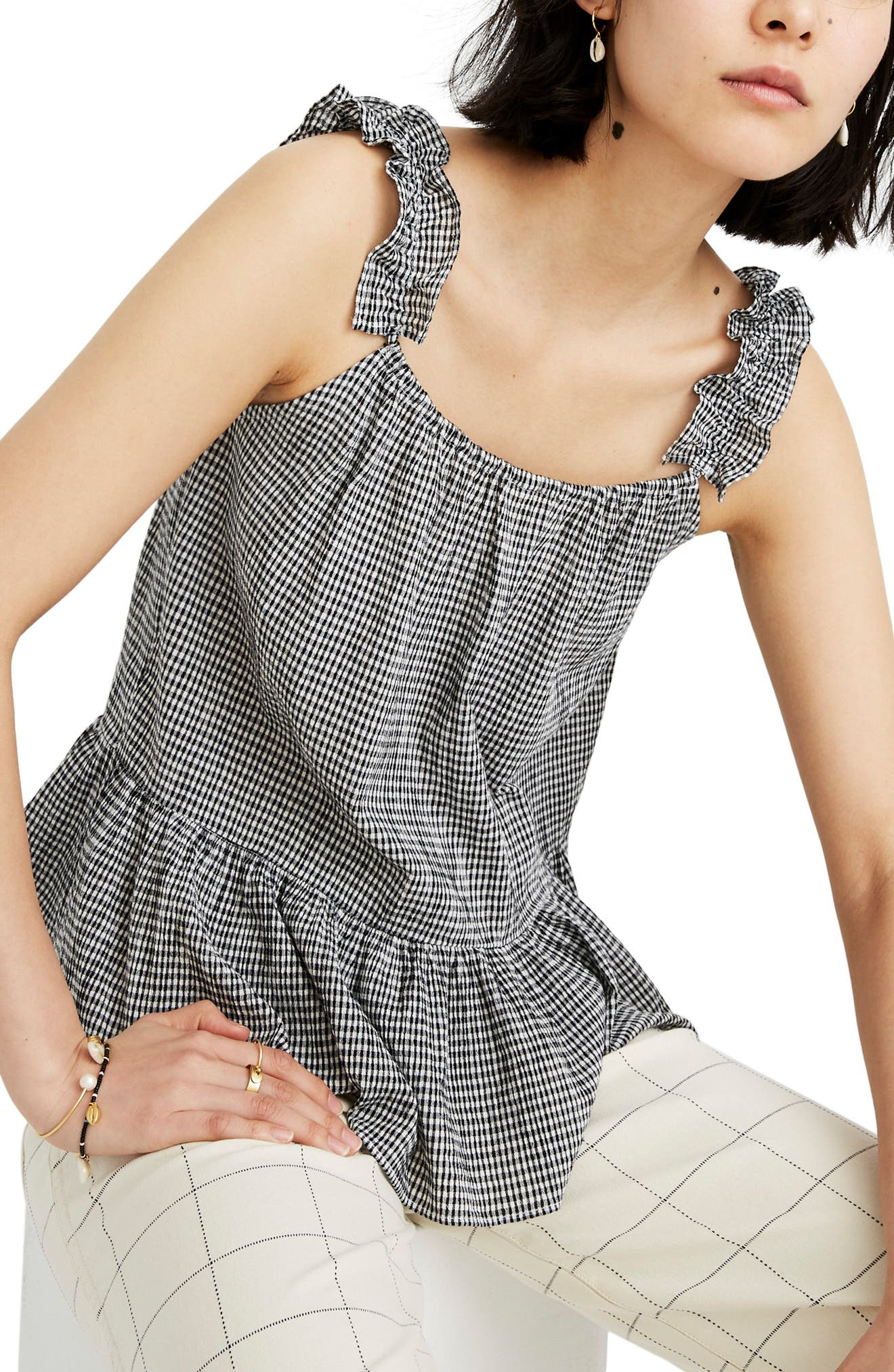 Madewell Gingham Ruffle Strap Camisole, Blue