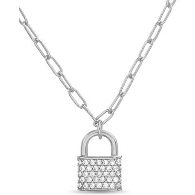 Lesa Michele Pave Lock Pendant Neck