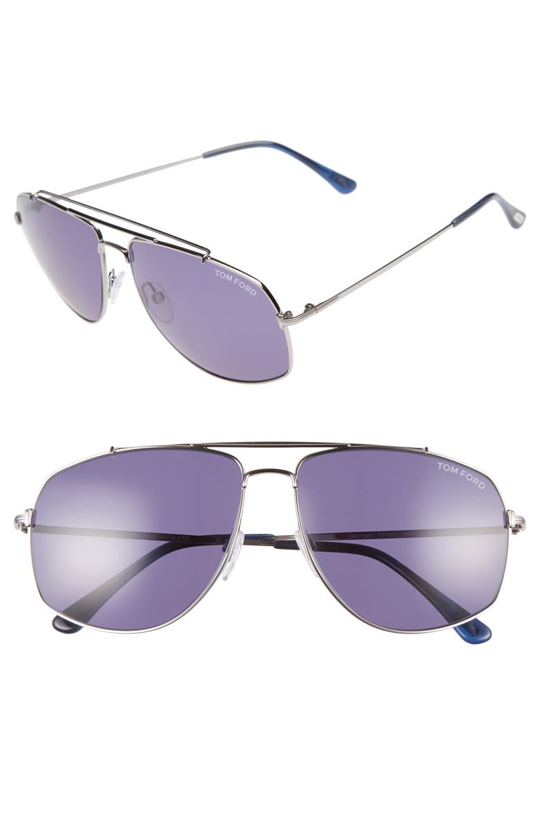 TOM FORD 59mm Aviator Sunglasses, Main, color, SILVER/ BLUE