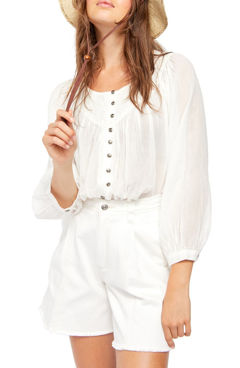 FREE PEOPLE Cool Meadow Cotton Peasant Blouse, Main, color, WHITE