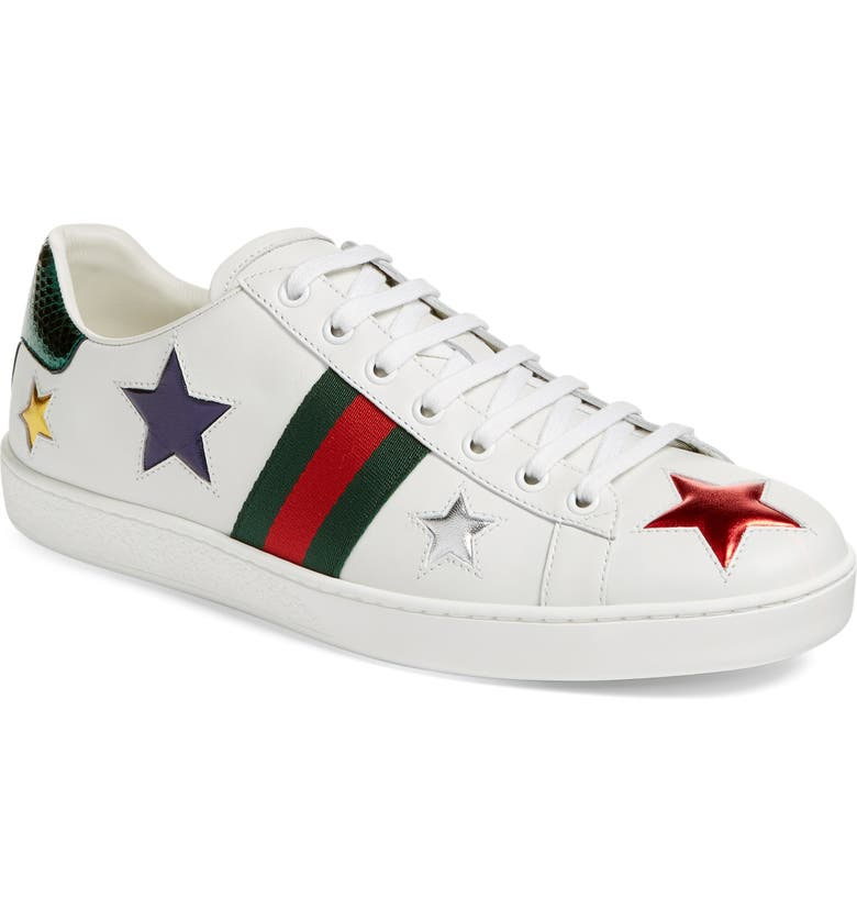 GUCCI New Ace Star Sneaker, Main, color, 100