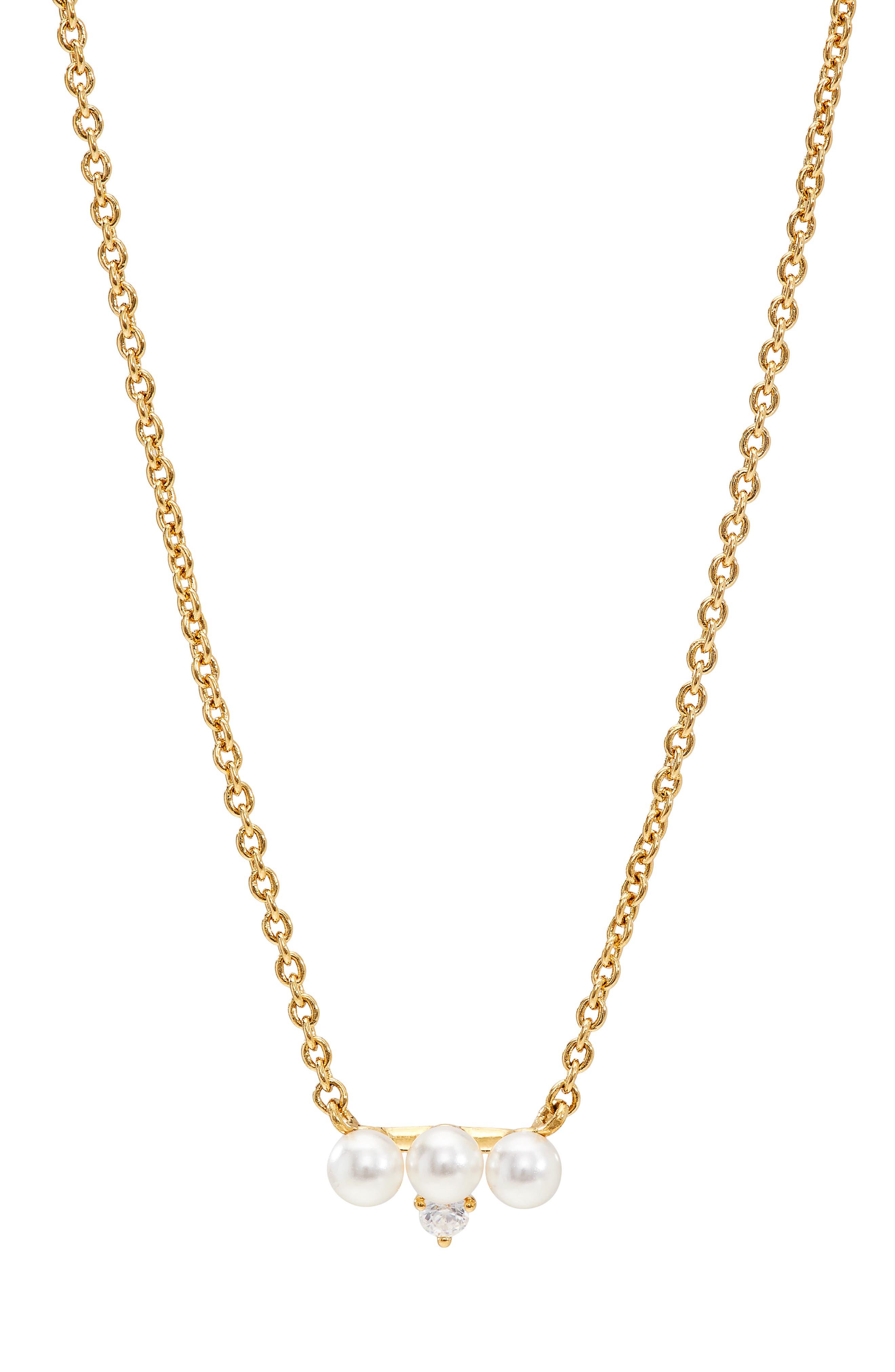 Imitation Pearl & Cubic Zirconia Necklace