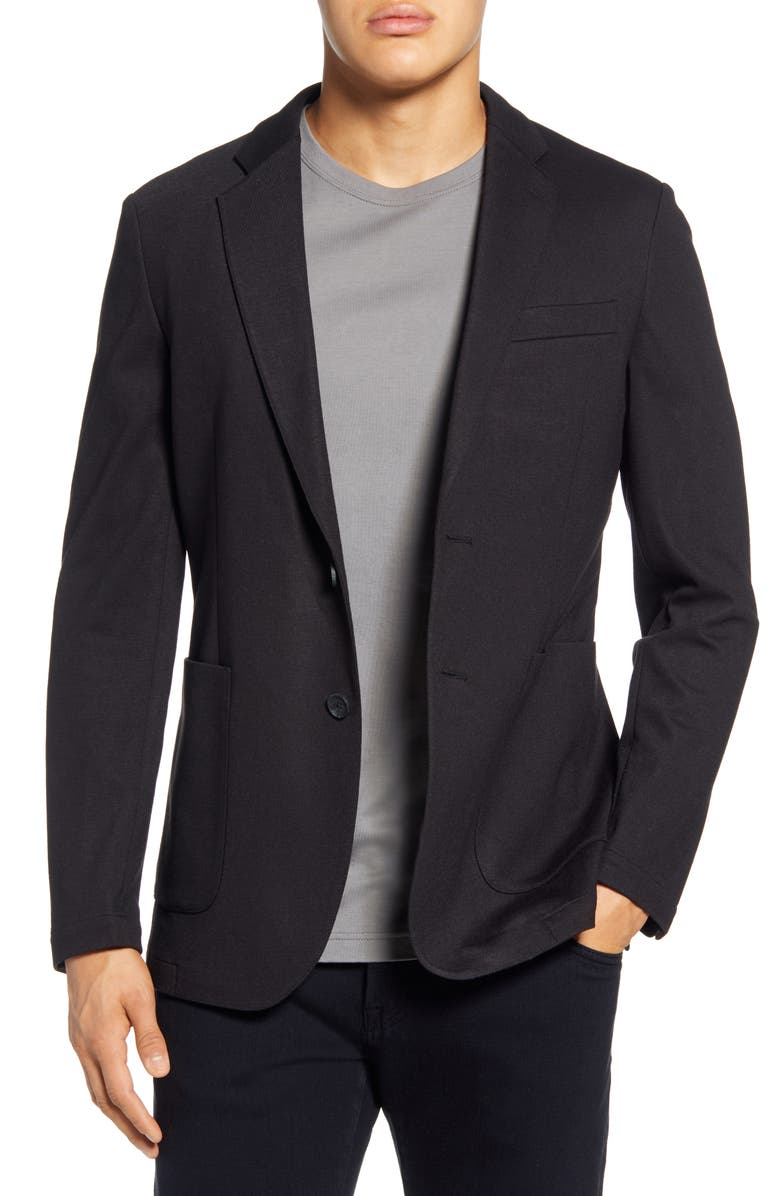 NORDSTROM MEN'S SHOP Trim Fit Comfort Blazer, Main, color, BLACK CAVIAR