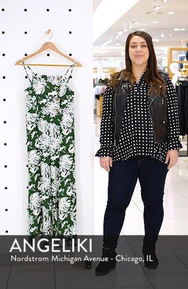 Leaf Print Side Button Linen Blend Crop Jumpsuit, sales video thumbnail